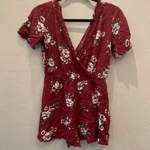 Xhilaration Maroon Floral Romper with Tie Back